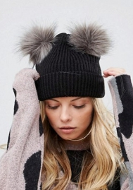 Womens Double Pom Pom Knitted Hats Winter Crimping Hairball Hat