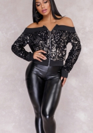 Women Party Clubwear Sexy Off The Shoulder Sequin Jacket Coat Outwear