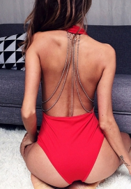 Women Sexy Backless Chain One Piece Bodysuit Thong Halter Swimsuits
