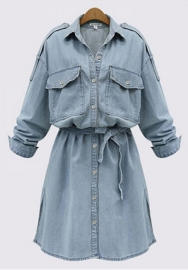 Women's Plus Size Roll Up Sleeves Above Knee Belted Denim Dress