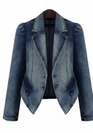 WOMENS Long-Sleeve Distressed Button Up Denim Jean Jacket Regular & Plus Size