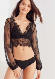 Black Fashoin Polyester Lace Long Sleeve See Through Cutout V Neck High Elasticity Tops