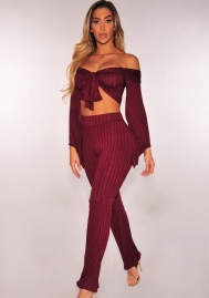 Womens Sexy 2 Piece Outfits Long Sleeve Off Shoulder Bodycon Ribbed Knit Jumpsuit Romper
