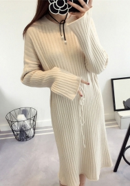 Women's Long Sleeve Tie Front Waist Belt Sweater A-Line Dress