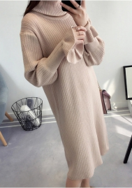 Women's Turtleneck Ribbed Long Sleeve Bodycon Sweater Dress