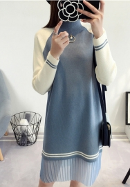 Women's Knit Sweater Long Sleeve Crewneck Midi Sweater Dress