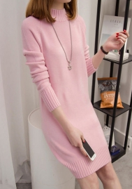 Women Round Neck Knit Stretchable Elasticity Long Sleeve Slim Fit Sweater Dress