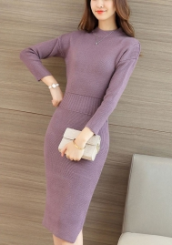 Women Fit and Flare Midi Swing Long Sleeve Casual Knit