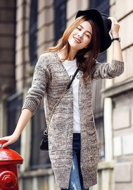 Women Sweater Coat Long Sleeve Open Front Pocket Pullover Sweater Cardigans