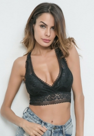 Women Lace Halter Bralette Wireless Racerback Bra