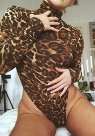 Women Lingerie Shiva Long Sleeved Animal Print Teddy