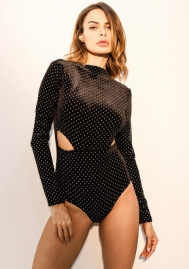 Women Hollow Long Sleeve Out Lace One Piece Bodysuit Teddy Lingerie