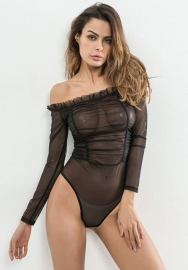 Women's Sheer Mesh Nylon Sexy Bodysuit