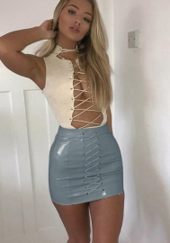 (Only Skirt) Women's Solid Color High Waist PU Faux-Leather Bandage Club Mini Skrit