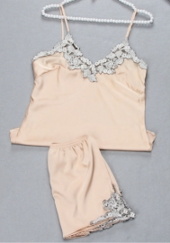 Womens Imitation Silk Sexy Cami Shorts Pajama Sets With Elegant Embrodery