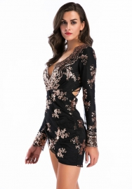Women's Sexy Bodycon Mesh Short Sequin Club Party Dresses with Long Sleeve