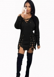 Women's V Neck Bandage Long Sleeve Mini Dress