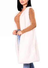 Women's Long Faux Fur Warm Vest Waistcoat Coat Fluffy Front Open Cardigan