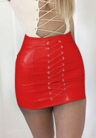 Women's Sexy Bright PU High Waist Slim Front Lace Up Juniors Short Mini Party Skirts