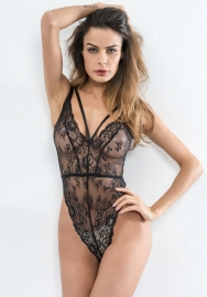 Women Hollow Out Lace One Piece Bodysuit Teddy Lingerie