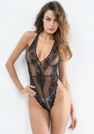 Women Sexy Teddy Lingerie One Piece Lace Bodysuit Deep V-Neck Jumpsuit