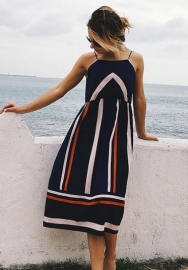 Women's Striped Sleeveless Long Backless Floral Spaghetti Strap Dress