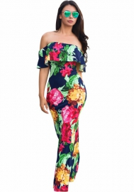 Women's Boho Floral Print Off Shoulder Maxi Casual Dress With Short Sleeves