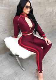 Women fashion Red high waist long sleeve two pieces set activewear