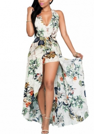 Women's Summer Floral Print Plunging V Neck Long Tail Romper Maxi Dress
