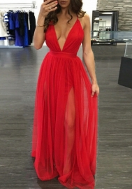 Womens Chiffon Spaghetti Strap Deep V Neck High Slit Maxi Beach Dress