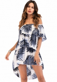 Women's Sexy Off Shoulder High Low Wrap Ruffle Casual Floral Print Beach Summer Dress