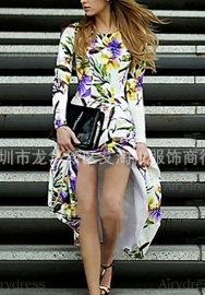 Women Bohemian Floral Print V Neck Tunic Irregular Hem Chiffon Midi Dress