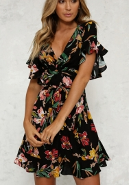 Women's Short Sleeve Floral Print Fit and Flare V Neck Wrap Dress