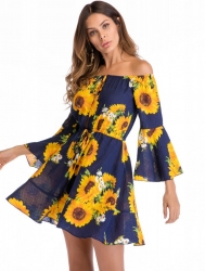 Women's Off Shoulder Strapless Floral Print Trumpet Sleeve Summer Casual Vacation Boho Mini Dress