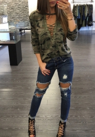 Women fashion Long Sleeve Camouflage  v neck sweatshirt