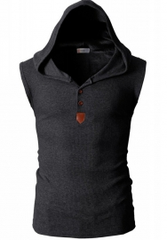 Mens Fashion Casual Front Placket Basic Sleeveless Henley T-Shirt