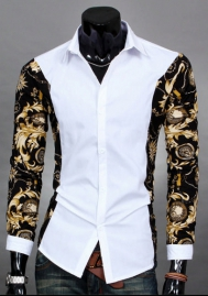 Mens Long Sleeve Luxury Print Dress Shirt