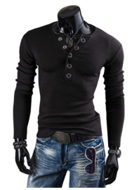 Men's Medieval Pirate Lace Up Stand Collar Wide Cuff Costume Shirt Tops