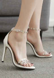 Women's Lucite Clear Strappy Block Chunky High Heel Open Peep Toe Sandal
