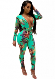 Women's V Neck Long Sleeve Floral Bodycon Waist Tie Rompers Jumpsuits