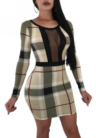 Women One Step Career Sexy Plaid Perspective Mesh Splice Printing Long-Sleeve Silm Fit Dress