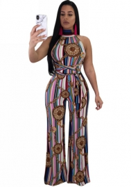 Women's Sexy Sleeveless Halter Backless Striped Chain Print Wide Leg Long Pants Jumpsuit Rompers