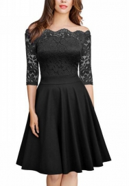 Women's Scoop Neck Half Sleeve Casual Pullover Lace Skater Party Dress
