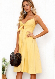 Womens Dresses-Summer Tie Front V-Neck Spaghetti Strap Button Down A-Line Backless Swing Midi Dress