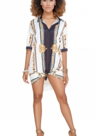 Women's African Print T Shirt Dress Bohemian Casual Mini Dress