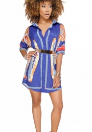 (Not Belt)Women's African Print T Shirt Dress Bohemian Casual Mini Dress