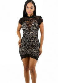 Women's Hollow Out Lace Halter Sleeveless V Neck Backless Clubwear Short Mini Dress