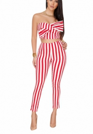 Womens Off Shoulder Sexy Stripe Long Wide Jumpsuit Romper 2 Pieces Crop Top and Pants Outfits