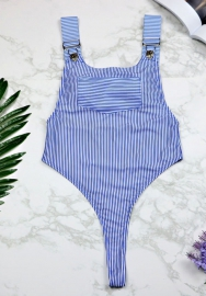 Women Summer One Piece Striped Bikini Push-Up Padded Swimwear Swimsuit Jumpsuit