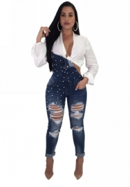 Womens Knee Ripped Nail Bead Jeans Jumpsuit